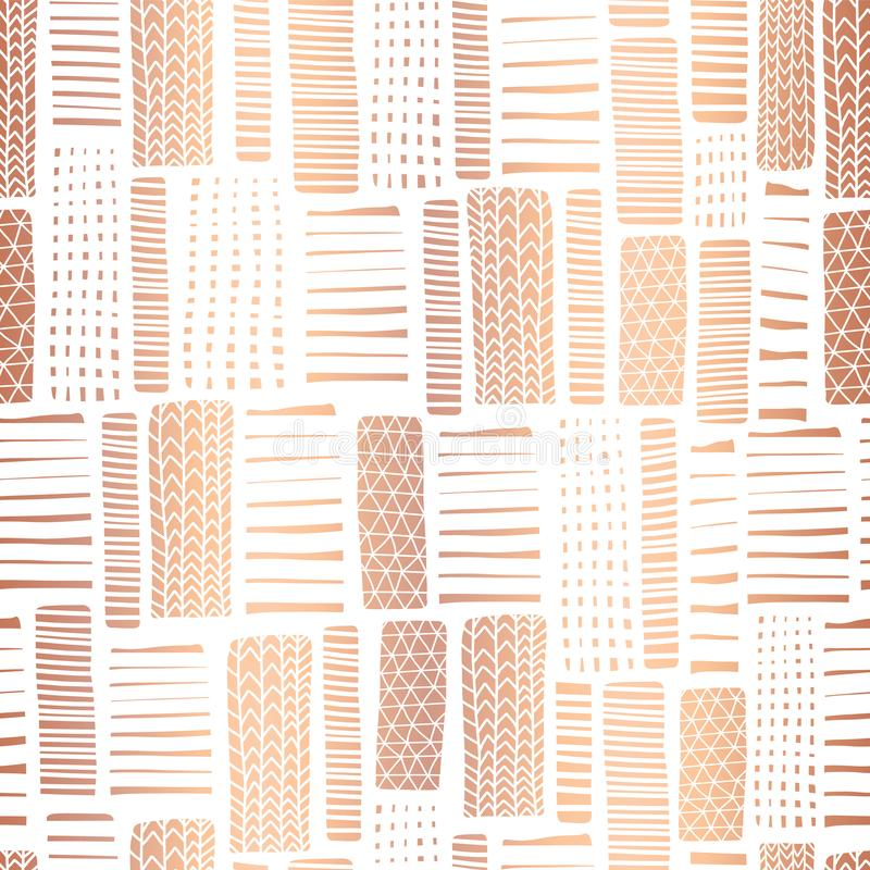 Copper foil textured rectangle seamless vector pattern. Hand drawn rose gold abstract shapes on white background. Banner, pagefill. Gift wrap, wedding, party royalty free illustration