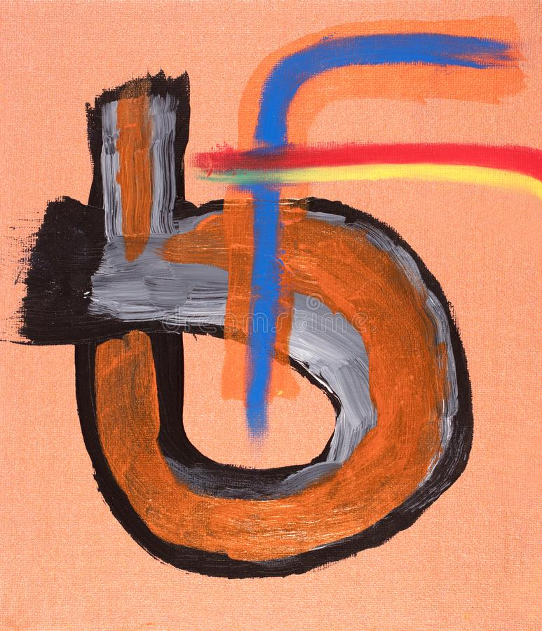 Copper grounded acrylic painting using black white and orange paints and vivid oil pastels stock illustration