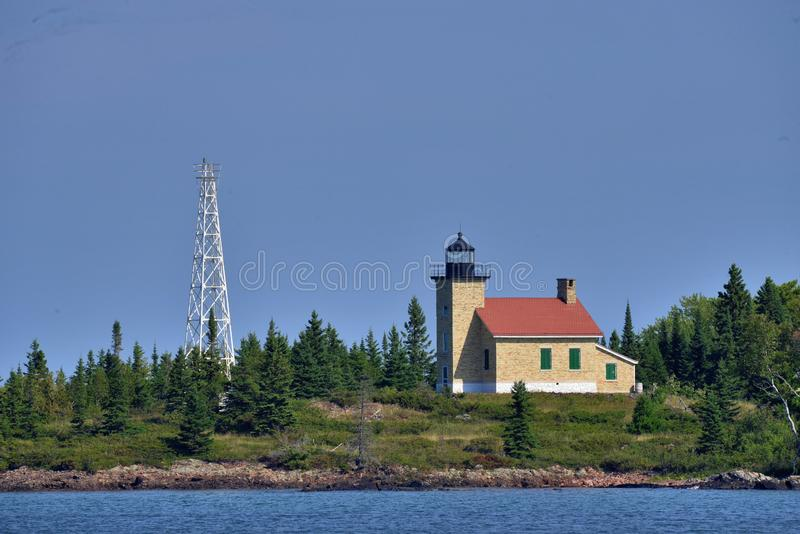 Copper Harbor Light is a lighthouse located in the harbor of Copper Harbor, Michigan USA on the Keweenaw Peninsula of Upper. Michigan inside Fort Wilkins royalty free stock image