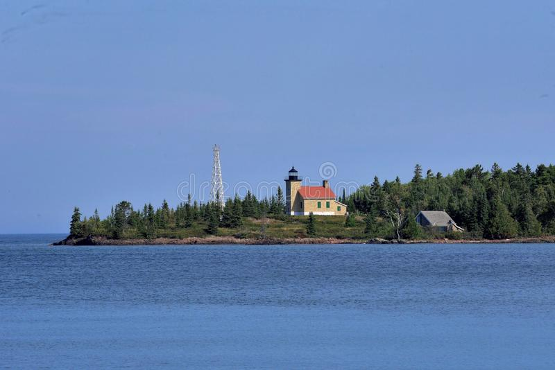 Copper Harbor Light is a lighthouse located in the harbor of Copper Harbor, Michigan USA on the Keweenaw Peninsula of Upper. Michigan inside Fort Wilkins stock photo