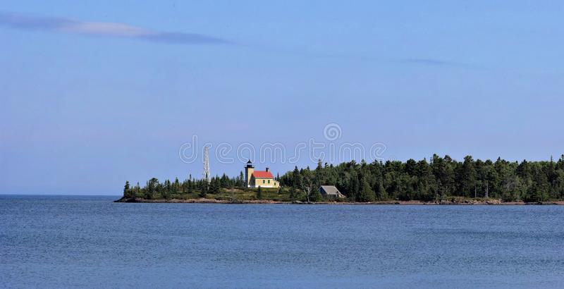 Copper Harbor Light is a lighthouse located in the harbor of Copper Harbor, Michigan USA on the Keweenaw Peninsula of Upper. Michigan inside Fort Wilkins royalty free stock photography