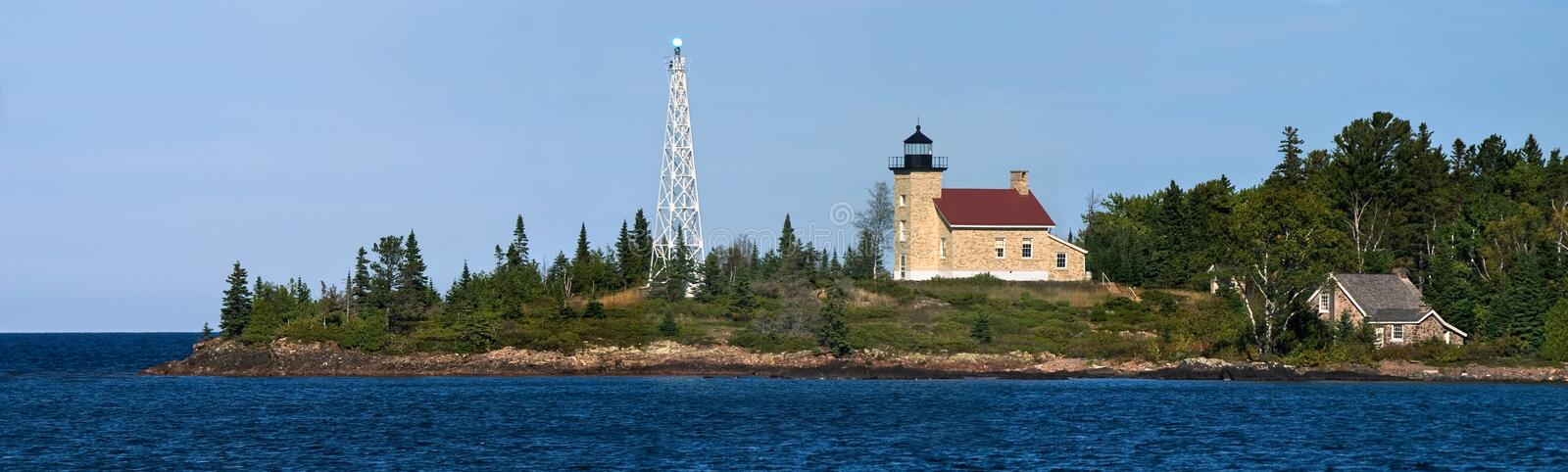 Copper Harbor Lighthouse. The Historic Copper Harbor Lighthouse On Lake Superior, Michigan's Upper Peninsula, Panoramic View royalty free stock photo