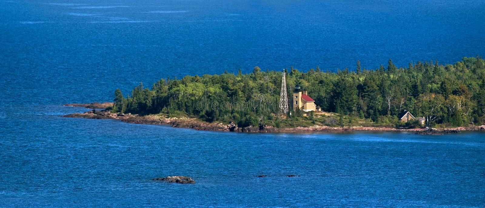 Copper Harbor Lighthouse. The Historic Copper Harbor Lighthouse On Lake Superior, Seen From Brockway Mountain, Michigan's Upper Peninsula, Panoramic View stock photography