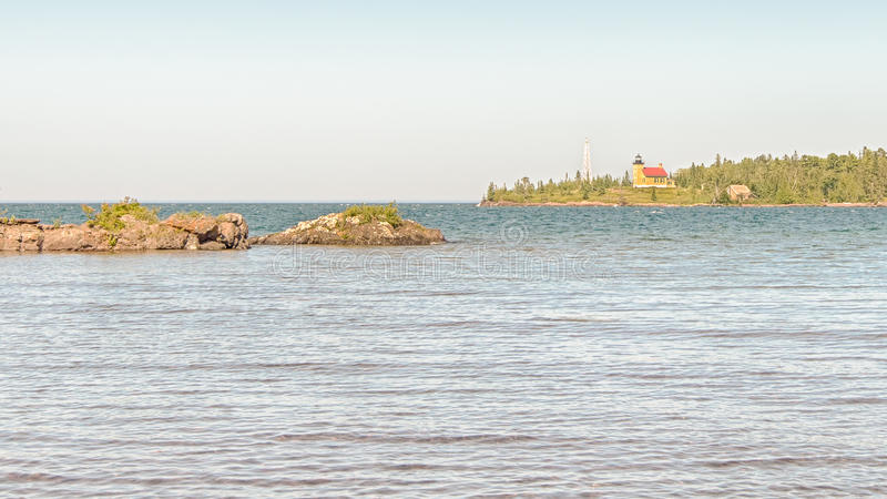 Copper Harbor Lighthouse, Lake Superior, MI stock photos