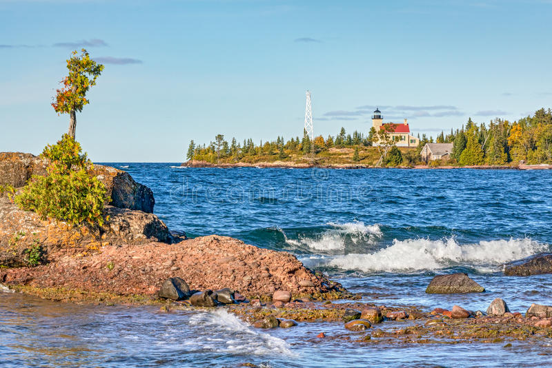 Copper Harbor Lighthouse. The Copper Harbor Light is a lighthouse is found on the Keweenaw Peninsula of Upper Michigan royalty free stock images