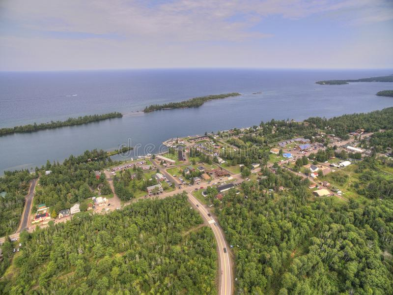 Copper Harbor Michigan. Copper Harbor in Northern Michigan`s Upper Peninsula during Summer via Drone royalty free stock photo