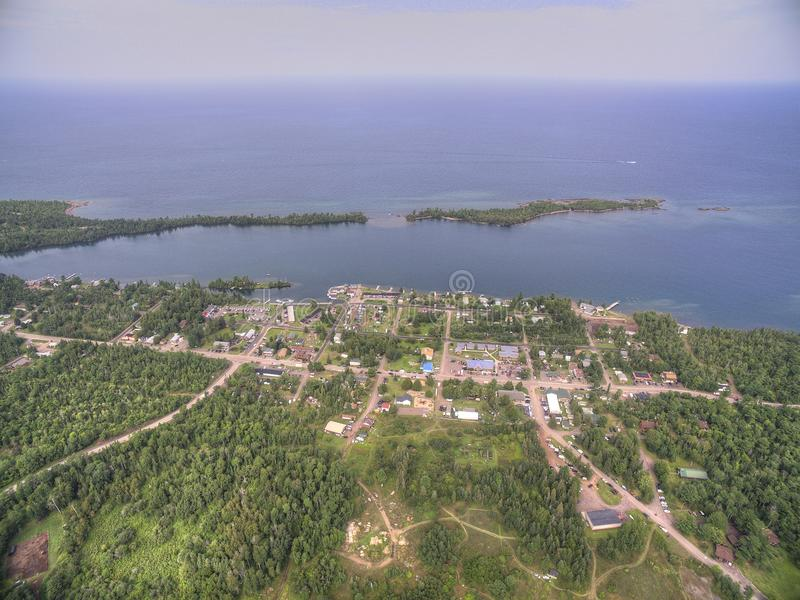 Copper Harbor Michigan. Copper Harbor in Northern Michigan`s Upper Peninsula during Summer via Drone stock photo