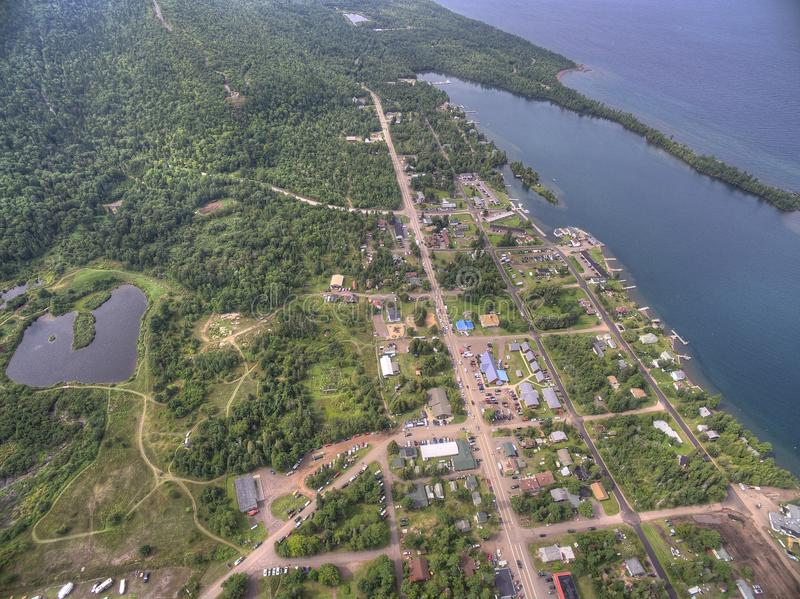 Copper Harbor Michigan. Copper Harbor in Northern Michigan`s Upper Peninsula during Summer via Drone stock photography