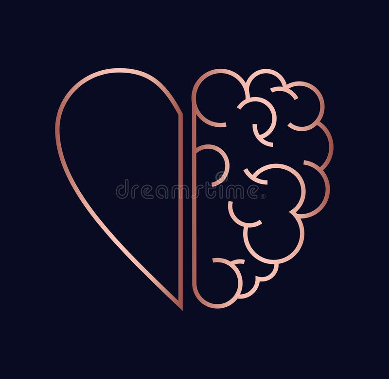 Copper heart and brain concept illustration. Heart and brain work as team concept design, flat line art modern illustration in luxury copper color stock illustration