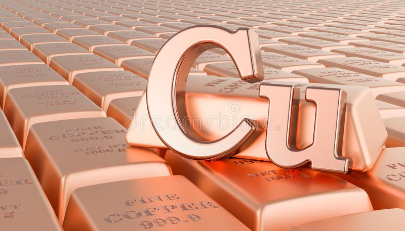 Copper ingots background with Cu symbol. 3D rendering vector illustration