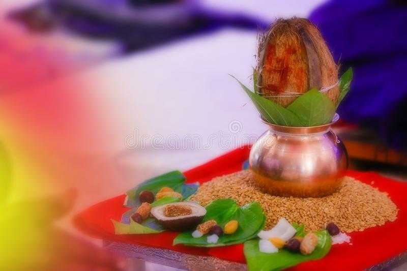 Copper kalash with coconut and mango leaf with floral decoration stock image