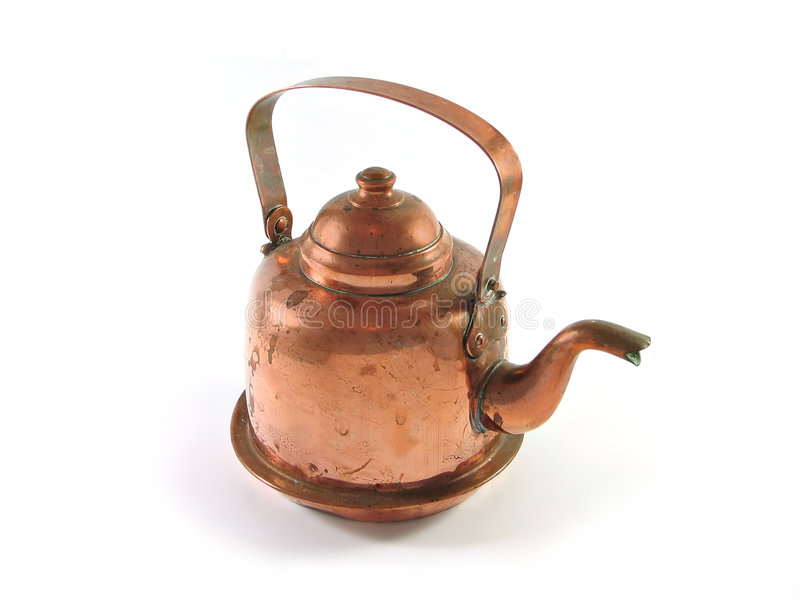 Copper kettle isolated. Antique copper brass kettle isolated on white stock images