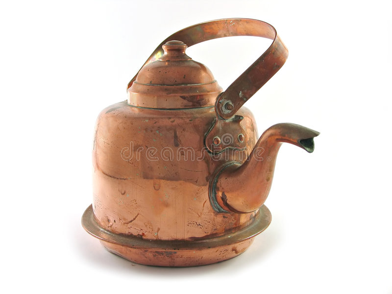Copper kettle isolated. Antique copper brass kettle isolated on white stock photo
