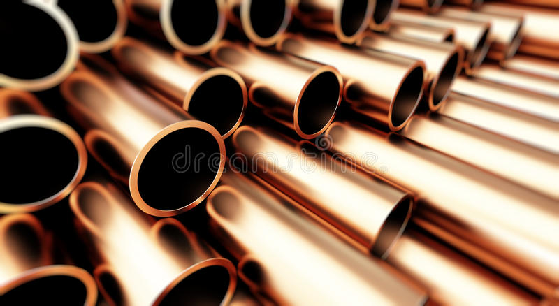 Copper metal pipe on white background. stock illustration