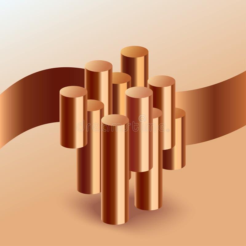 Copper. Metallic rod pieces. Production of non-ferrous metals concept. Vector illustration EPS 10 vector illustration