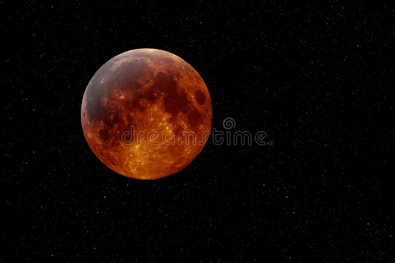 Copper moon. Artificial mockup of an orange planet or moon against a starry background vector illustration