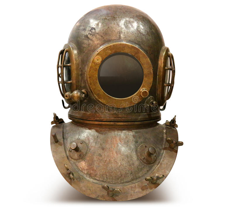 Copper old vintage deep sea diving suit royalty free stock image