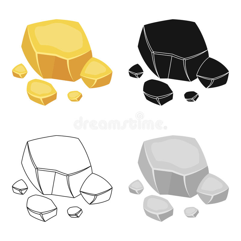 Copper ore icon in cartoon style isolated on white background. Precious minerals and jeweler symbol stock vector. Copper ore icon in cartoon design isolated on vector illustration