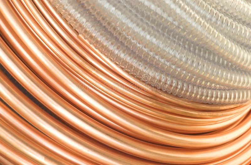 Copper Pipes stock image