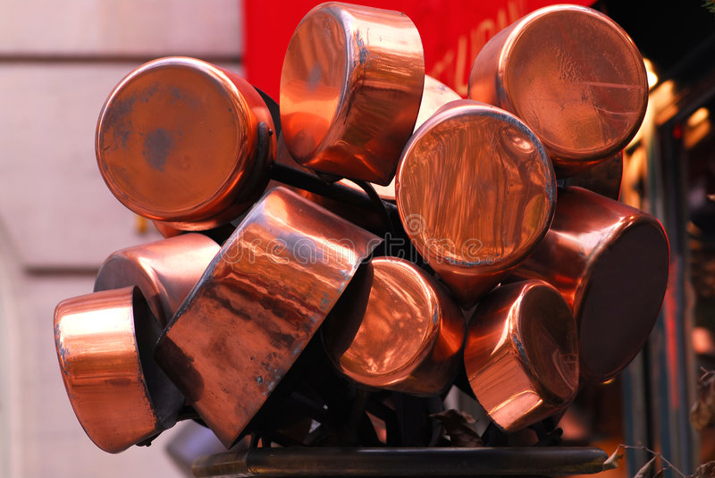 Copper pots stock photography
