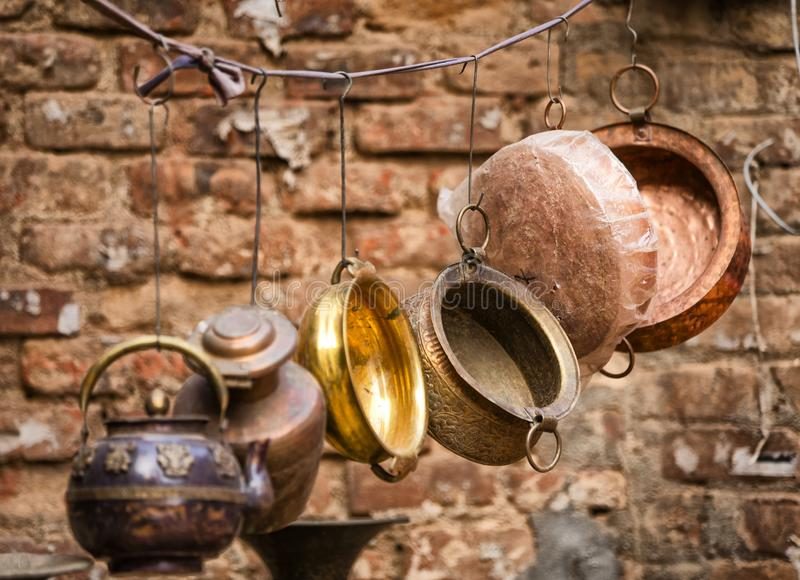 Copper pots hanging royalty free stock photo