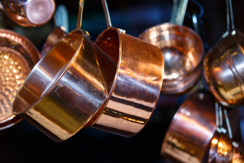 Copper pots and other utensils royalty free stock images