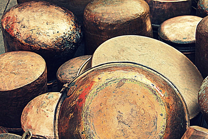 Copper pots and pans stock image