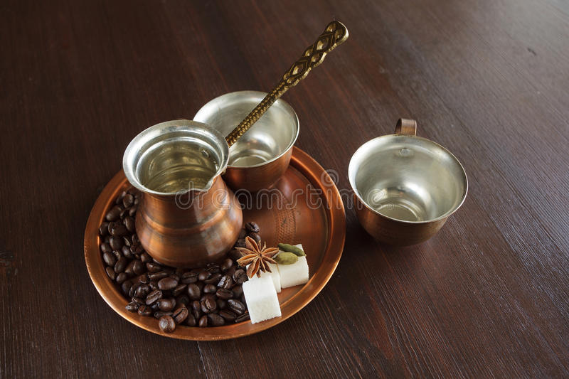Download Copper Set For Making Turkish Coffee With Spices Stock Image - Image: 33168193