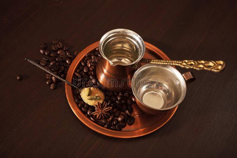 Download Copper Set For Making Turkish Coffee With Spices Stock Images - Image: 33168204
