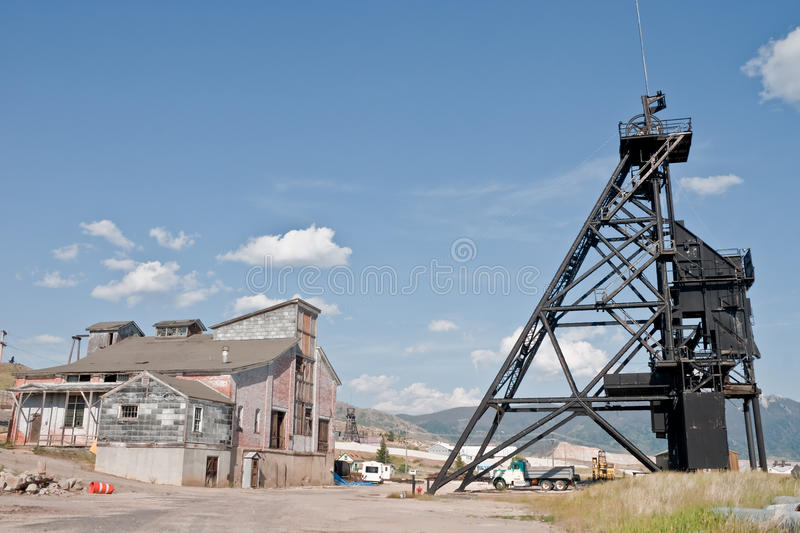 Copper-Silver Mine. Headframe and brick hoist house at Butte, Montana's most productive copper-silver mine, The Steward. It operated from 1877-1950 stock image