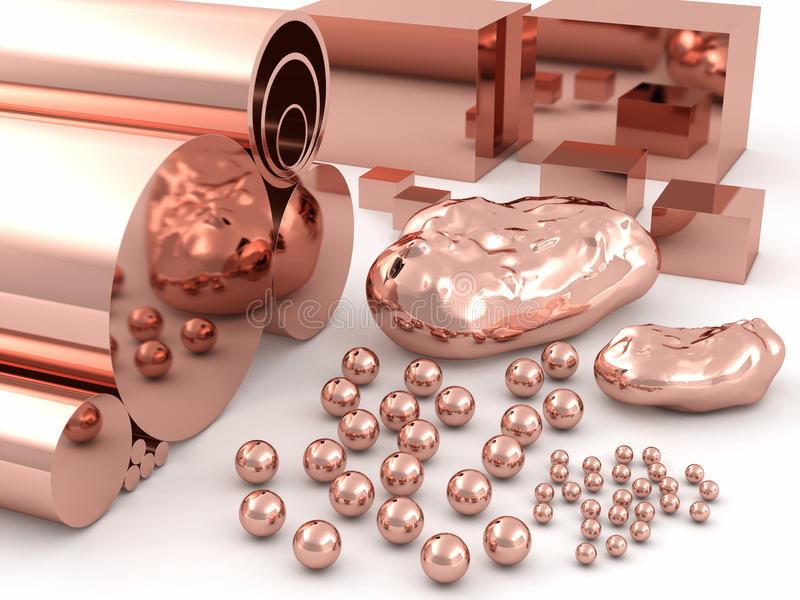 Copper. Spheres, pipes, rods and cubes of different sizes stock illustration