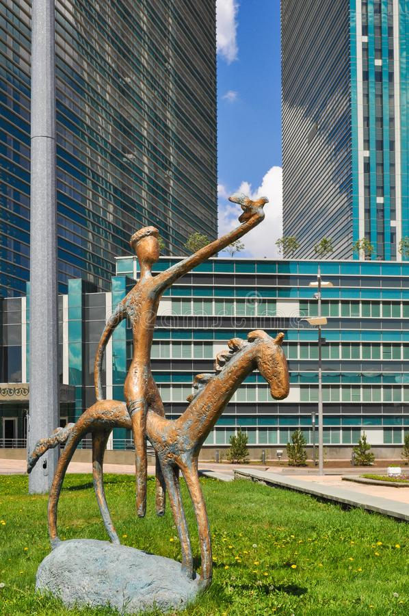 Copper statue in the center of Nursultan stock image