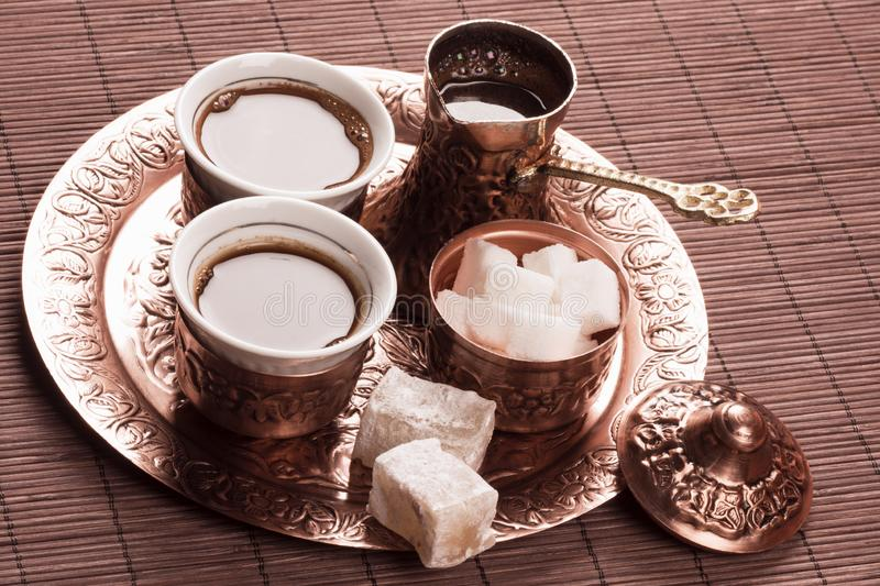 Copper Turkish coffee set stock images