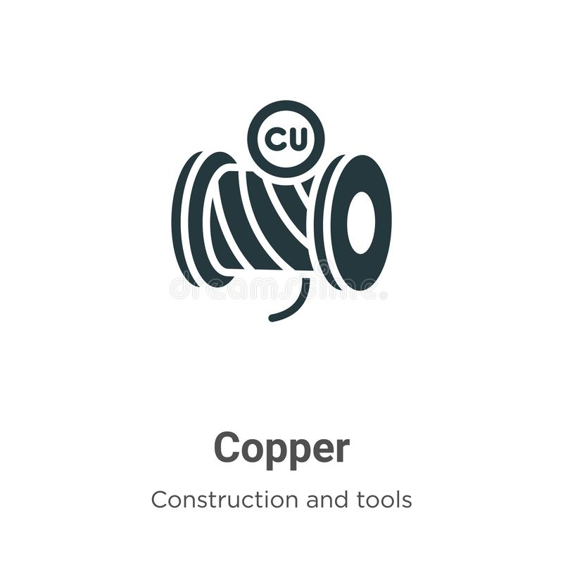 Copper vector icon on white background. Flat vector copper icon symbol sign from modern construction and tools collection for vector illustration