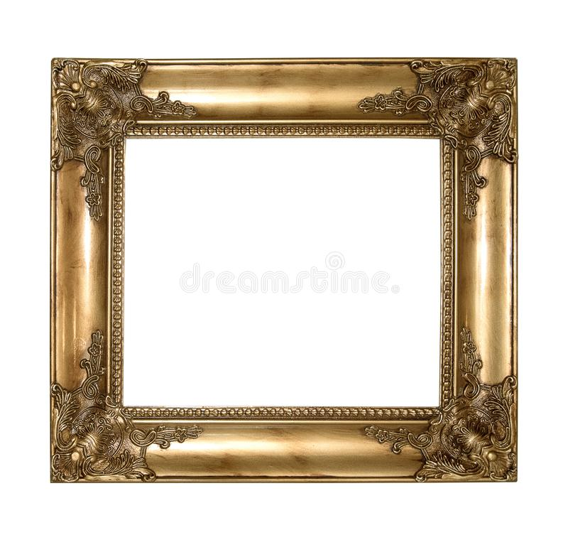 Copper vintage picture and photo frame isolated on white background stock image