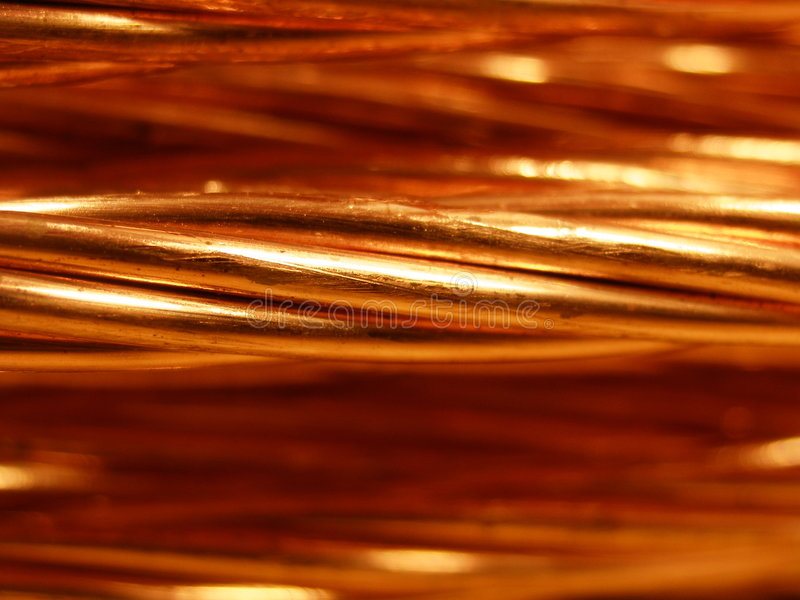 Copper wire. Close-up stock photos