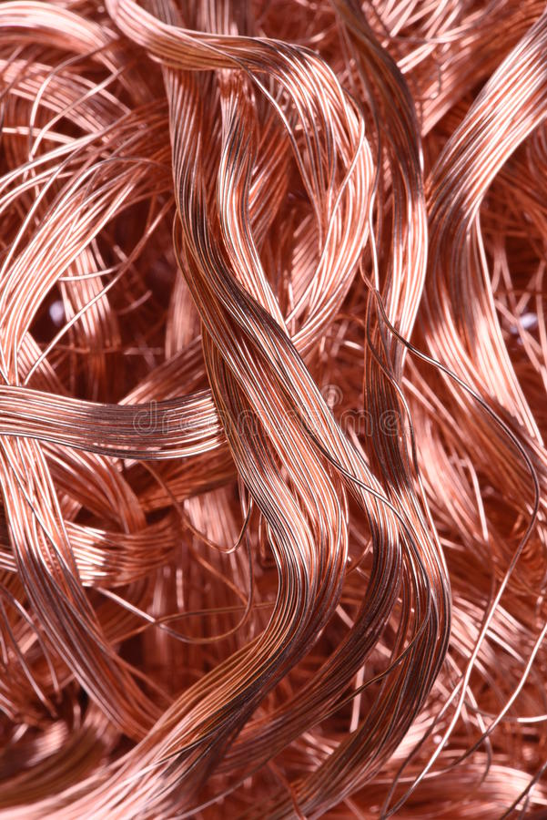 Copper wire. Industrial raw materials stock images