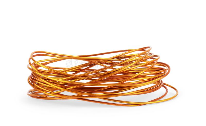 Copper wire isolated on white background.  stock photos