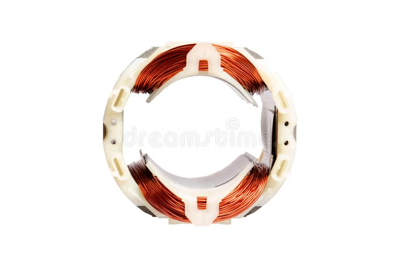 Copper wire in a motor, electric magnetic device for rotor royalty free stock image