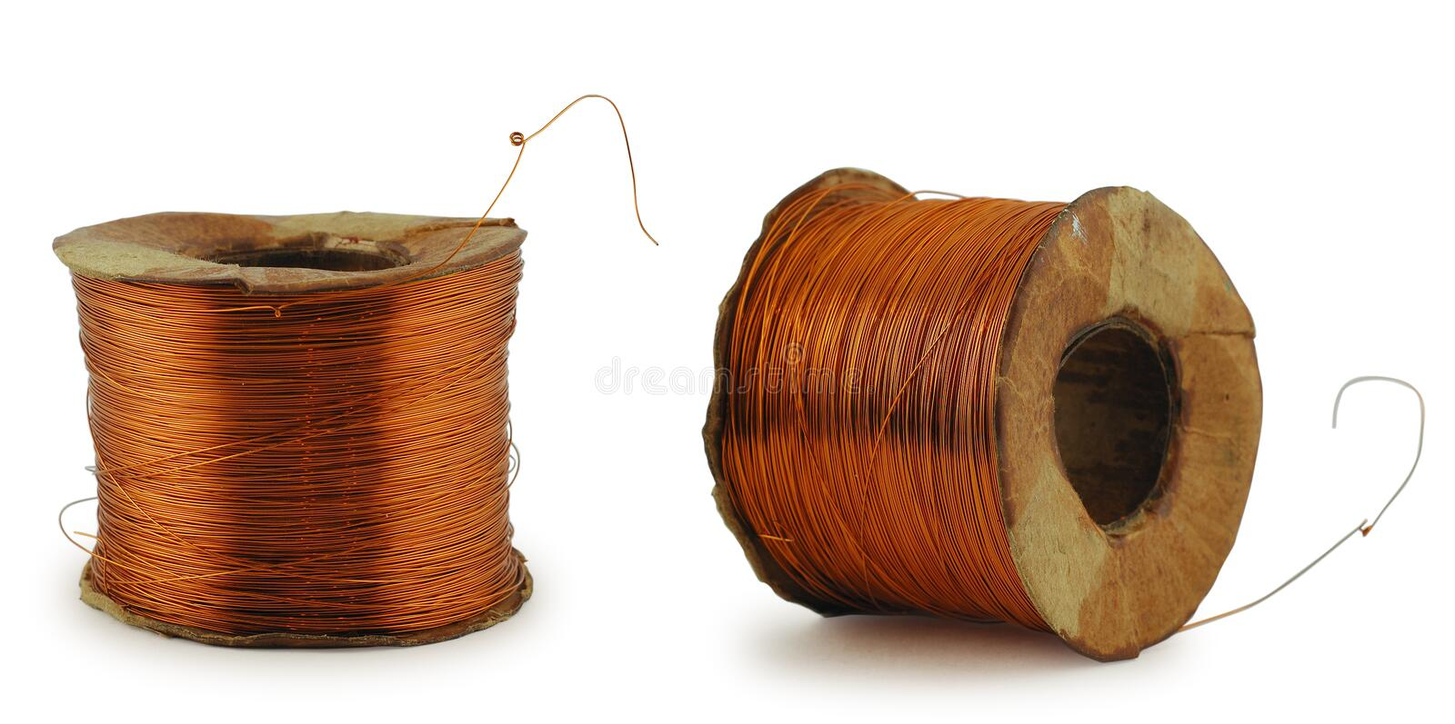 Copper wire roll. On white background, with clipping path royalty free stock photo