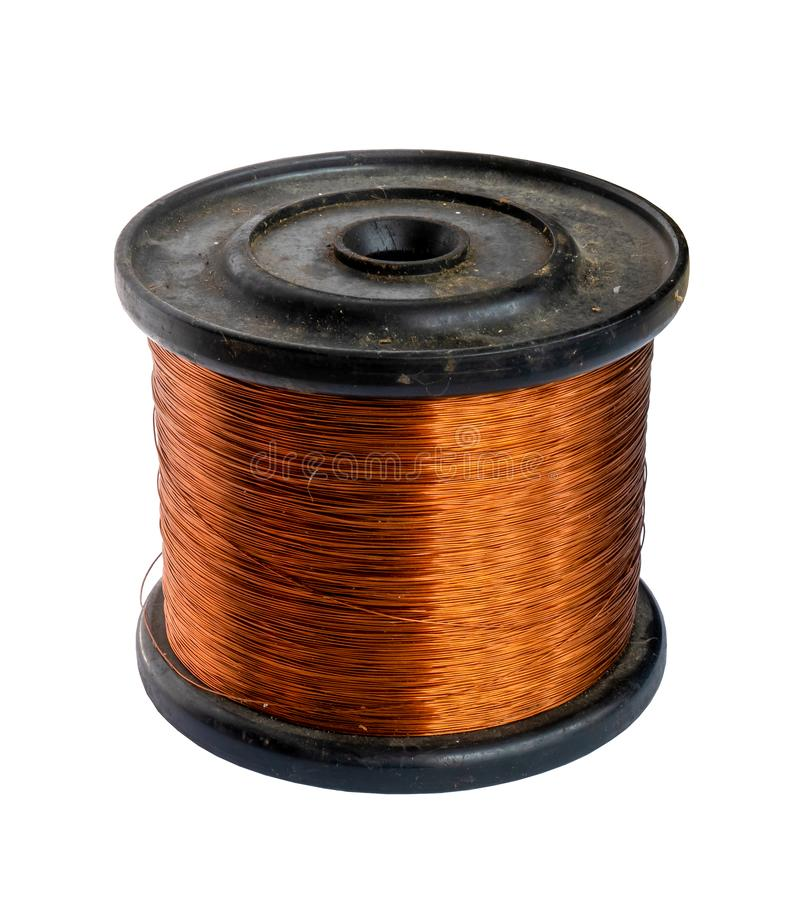 Copper wire spool isolated on a white background. Copper wire spool isolated on a white royalty free stock photo