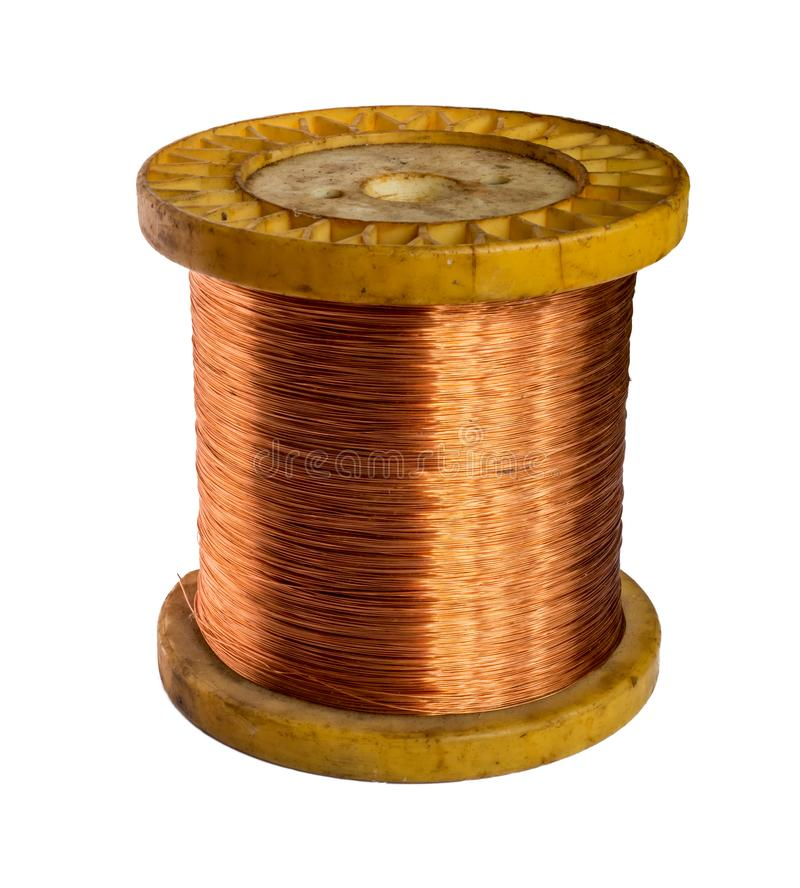 Copper wire spool isolated on a white background. Copper wire spool isolated on a white royalty free stock photos