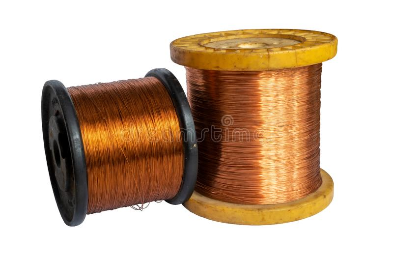 Copper wire spool isolated on a white background. Copper wire spool isolated on a white royalty free stock photography