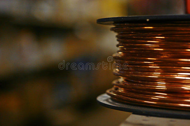 Copper wire spool royalty free stock photography