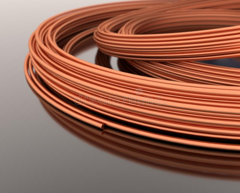 Copper wires - 3d illustration royalty free stock image