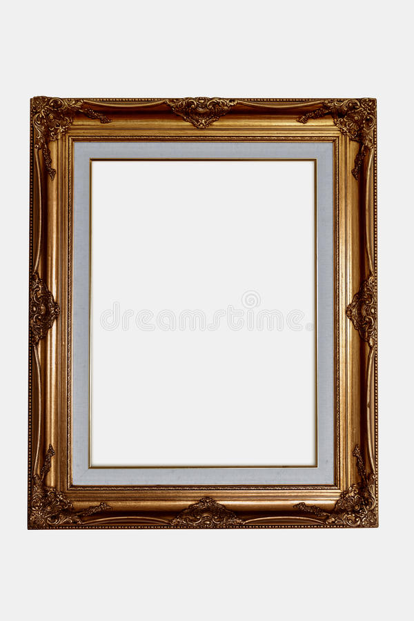copper wood frame on isolated white background with clip path l royalty free stock photo