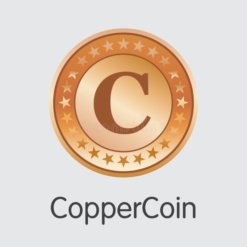 Coppercoin - het Cryptografische Pictogram van het Muntweb royalty-vrije illustratie
