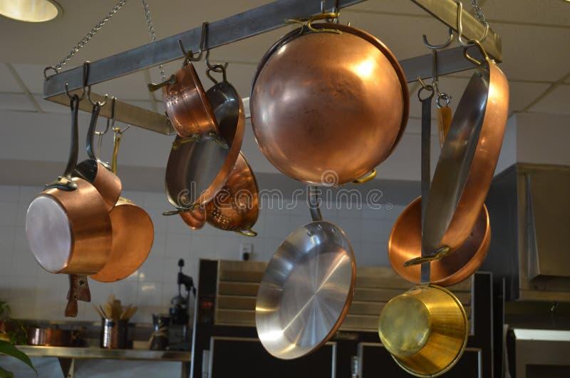 CopperKitchen-Kochgeschirr stockfoto