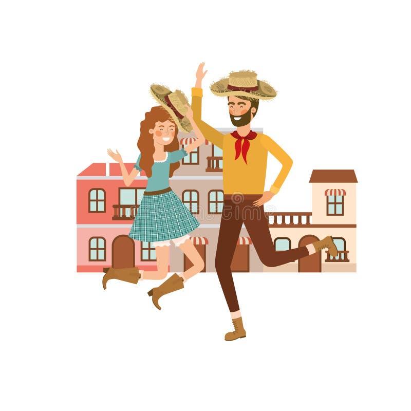 Coppia gli agricoltori che ballano con le case del fondo illustrazione vettoriale