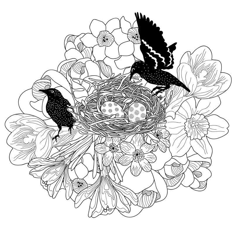 Coppia gli uccelli nel nido fotografie stock